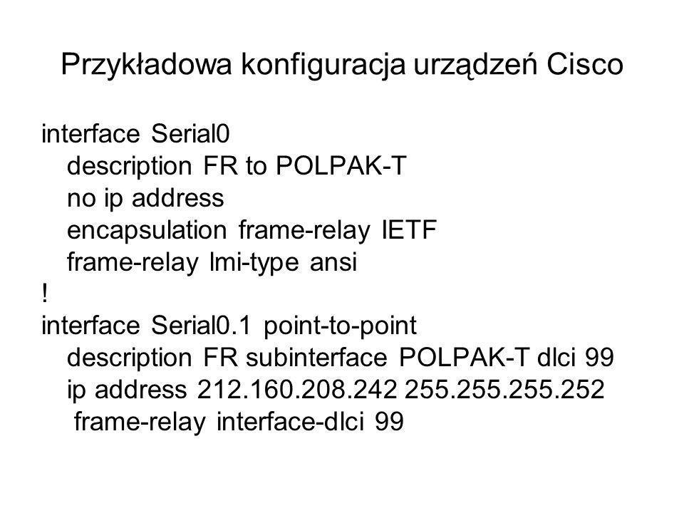 Przykładowa konfiguracja urządzeń Cisco interface Serial0 description FR to POLPAK-T no ip address encapsulation frame-relay IETF frame-relay lmi-type