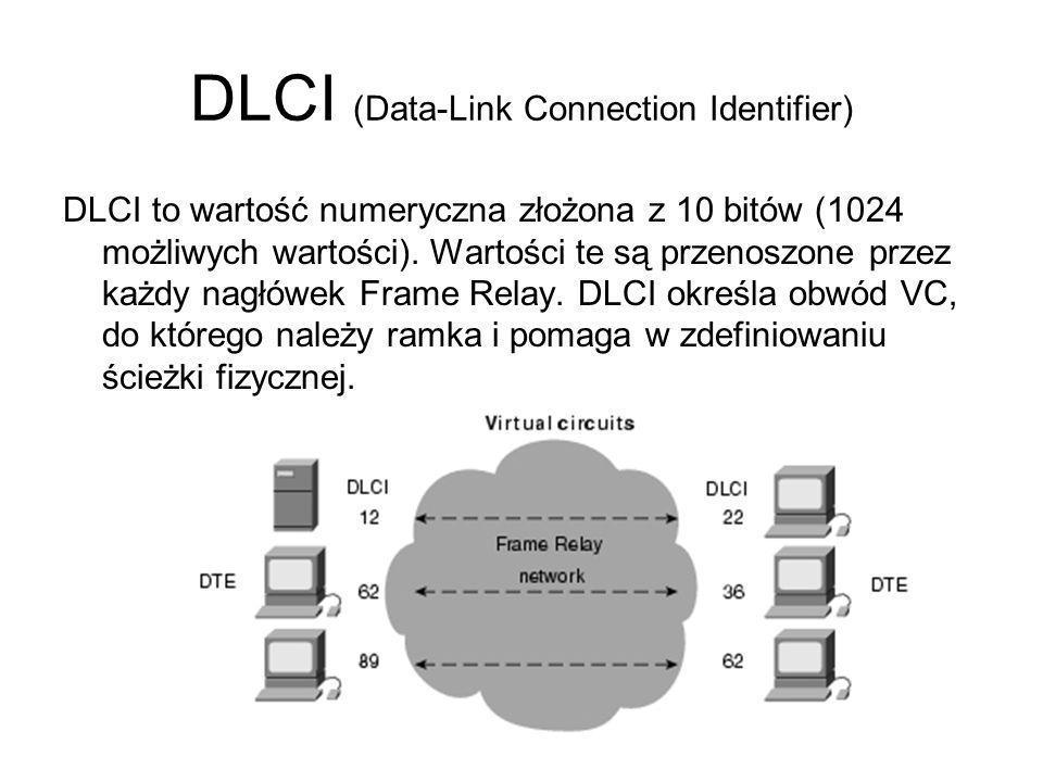 DLCI (Data-Link Connection Identifier) Tak więc DLCI to nic innego jak lokalnie istotna wartość liczbowa (mogąca się zmieniać na różnych węzłach w sieci), reprezentująca cały VC z punktu widzenia bieżącego urządzenia.