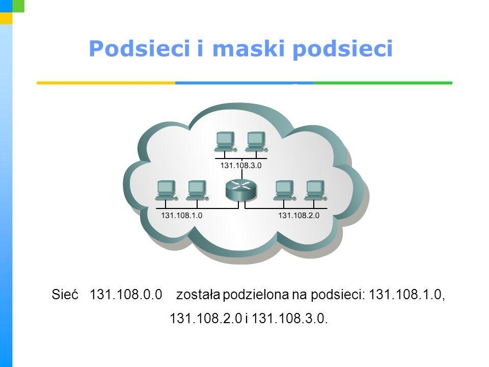 Podsieci i maski podsieci Sieć 131.108.0.0 została podzielona na podsieci: 131.108.1.0, 131.108.2.0 i 131.108.3.0.