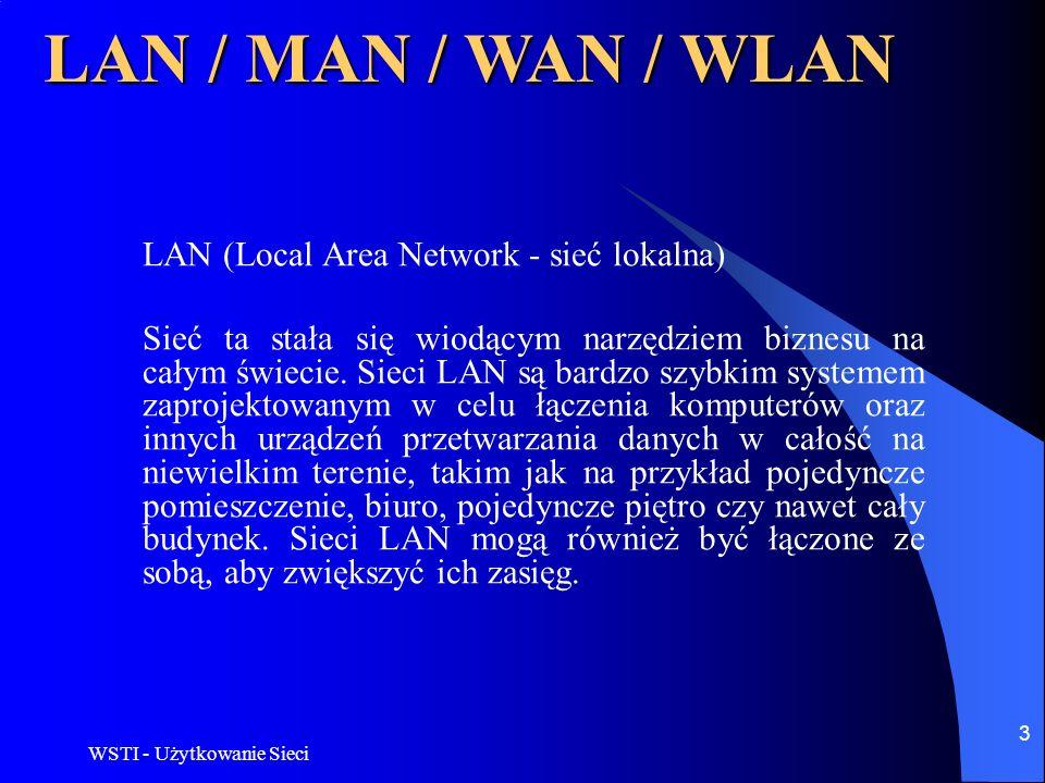 WSTI - Użytkowanie Sieci 4 LAN / MAN / WAN / WLAN MAN - (Metropolitan Area Network) Sieci tego rodzaju budowane są w dużych miastach, charakteryzują się wysoką przepustowością i są używane przede wszystkim przez urządzenia badawcze i w zastosowaniach komercyjnych o nasilonym przepływie danych.