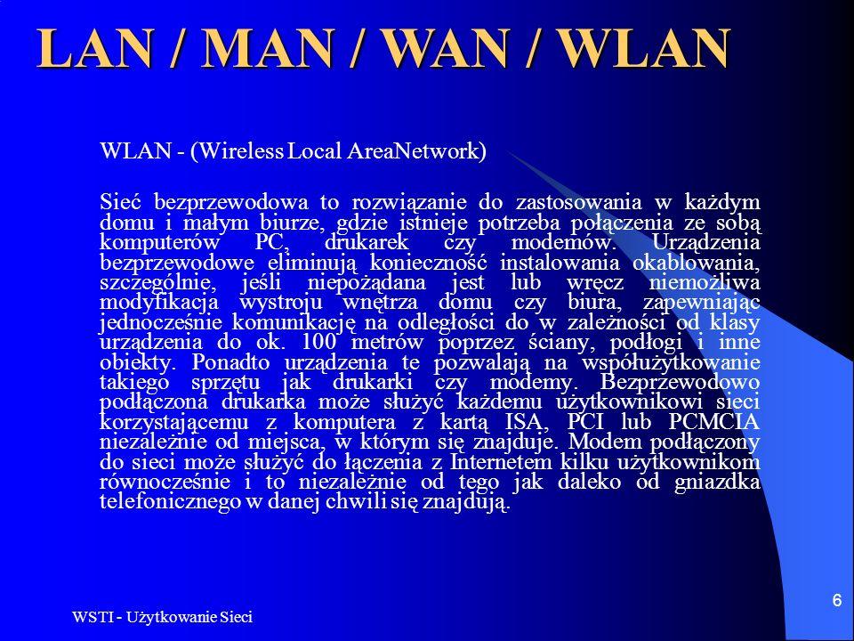 WSTI - Użytkowanie Sieci 6 LAN / MAN / WAN / WLAN WLAN - (Wireless Local AreaNetwork) Sieć bezprzewodowa to rozwiązanie do zastosowania w każdym domu