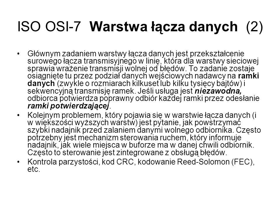 ISO OSI-7 Warstwa łącza danych (2) Głównym zadaniem warstwy łącza danych jest przekształcenie surowego łącza transmisyjnego w linię, która dla warstwy