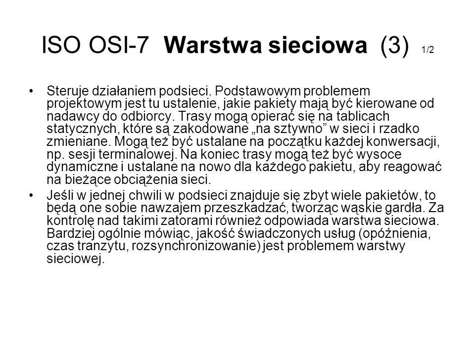 ISO OSI-7 Warstwa sieciowa (3) 1/2 Steruje działaniem podsieci. Podstawowym problemem projektowym jest tu ustalenie, jakie pakiety mają być kierowane