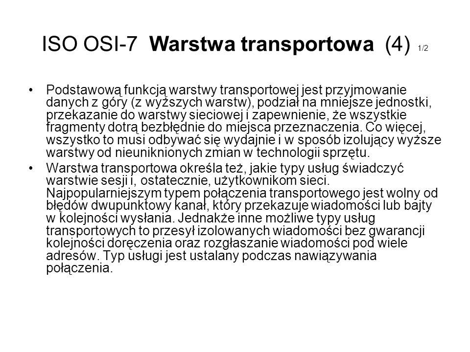 ISO OSI-7 Warstwa transportowa (4) 1/2 Podstawową funkcją warstwy transportowej jest przyjmowanie danych z góry (z wyższych warstw), podział na mniejs