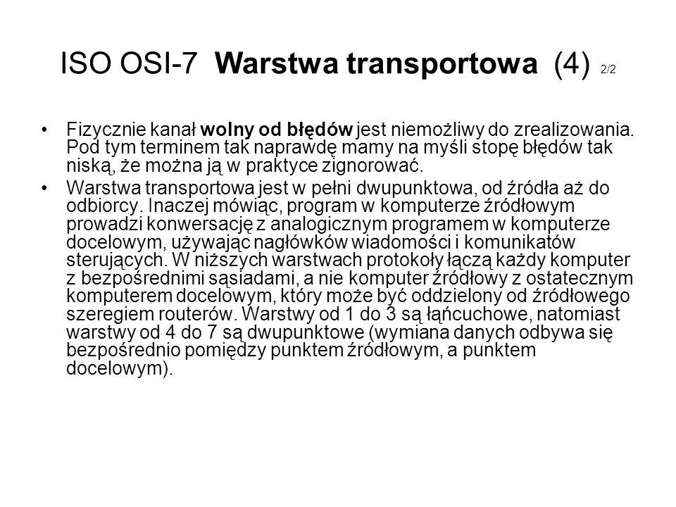 ISO OSI-7 Warstwa transportowa (4) 2/2 Fizycznie kanał wolny od błędów jest niemożliwy do zrealizowania. Pod tym terminem tak naprawdę mamy na myśli s