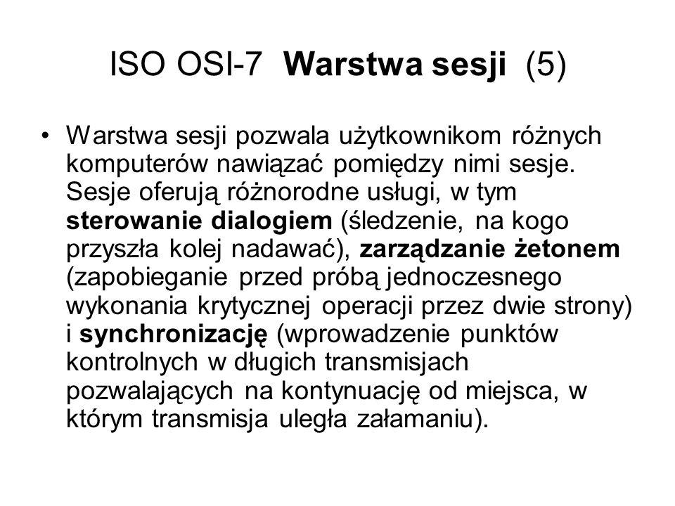 ISO OSI-7 Warstwa sesji (5) Warstwa sesji pozwala użytkownikom różnych komputerów nawiązać pomiędzy nimi sesje. Sesje oferują różnorodne usługi, w tym
