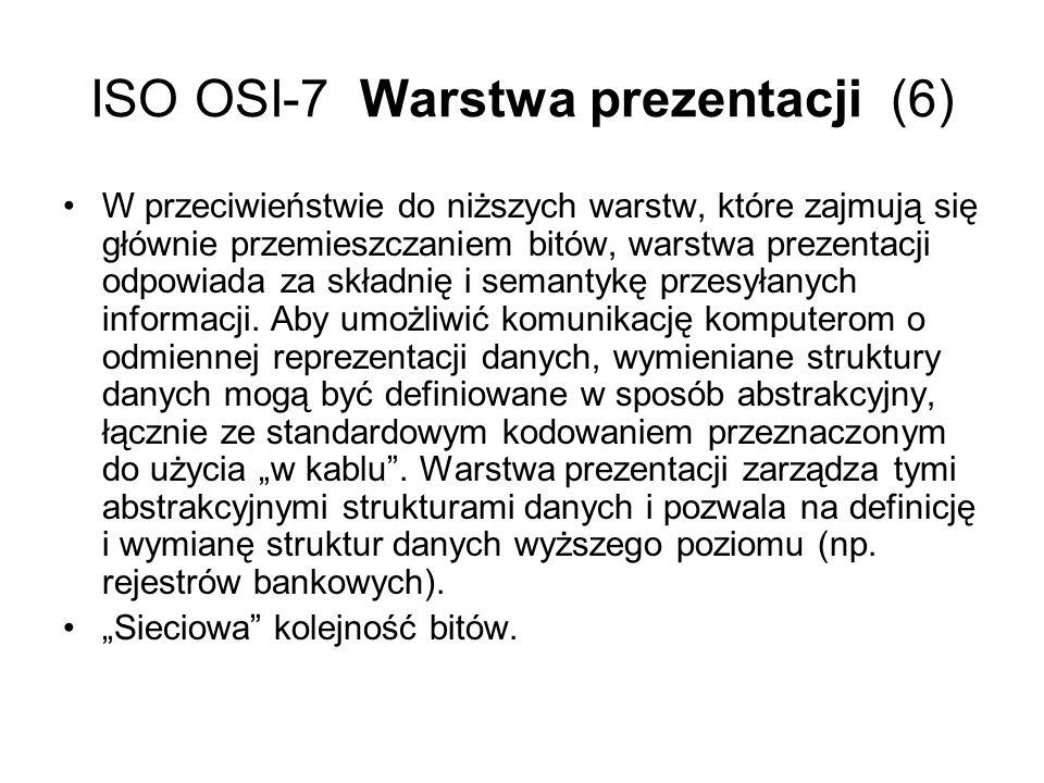 ISO OSI-7 Warstwa prezentacji (6) W przeciwieństwie do niższych warstw, które zajmują się głównie przemieszczaniem bitów, warstwa prezentacji odpowiad