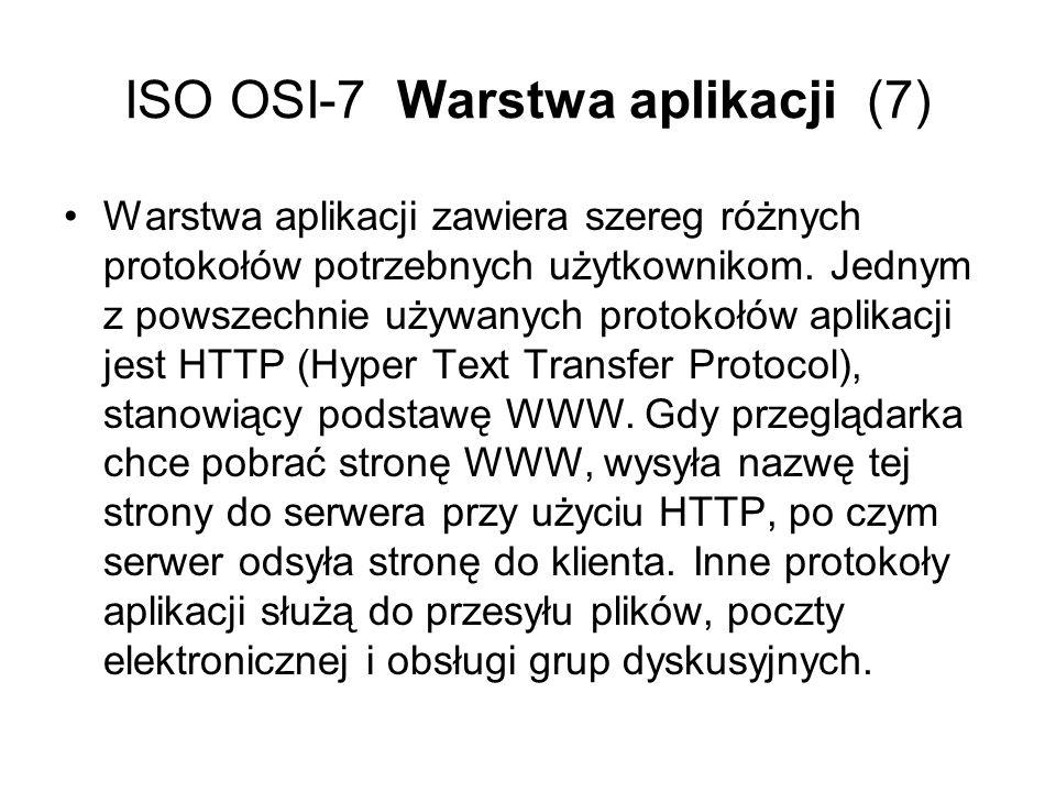 ISO OSI-7 Warstwa aplikacji (7) Warstwa aplikacji zawiera szereg różnych protokołów potrzebnych użytkownikom. Jednym z powszechnie używanych protokołó