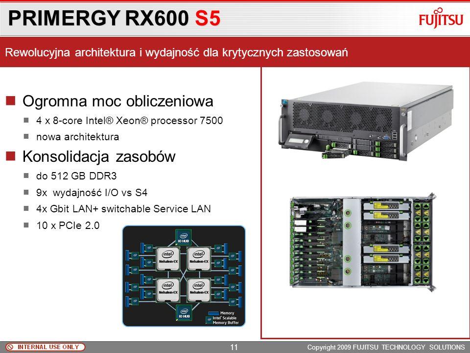 PRIMERGY RX300 S6 Copyright 2009 FUJITSU TECHNOLOGY SOLUTIONS Wydajność i skalowalność 2 x Intel Xeon 56xx 192GB RAM DDR3 1333MHz UDIMM / RDIMM / LVDI