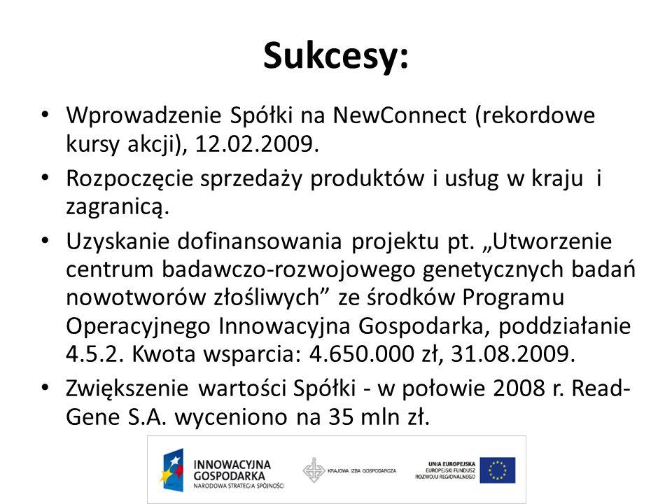 Sukcesy: Wprowadzenie Spółki na NewConnect (rekordowe kursy akcji), 12.02.2009. Rozpoczęcie sprzedaży produktów i usług w kraju i zagranicą. Uzyskanie