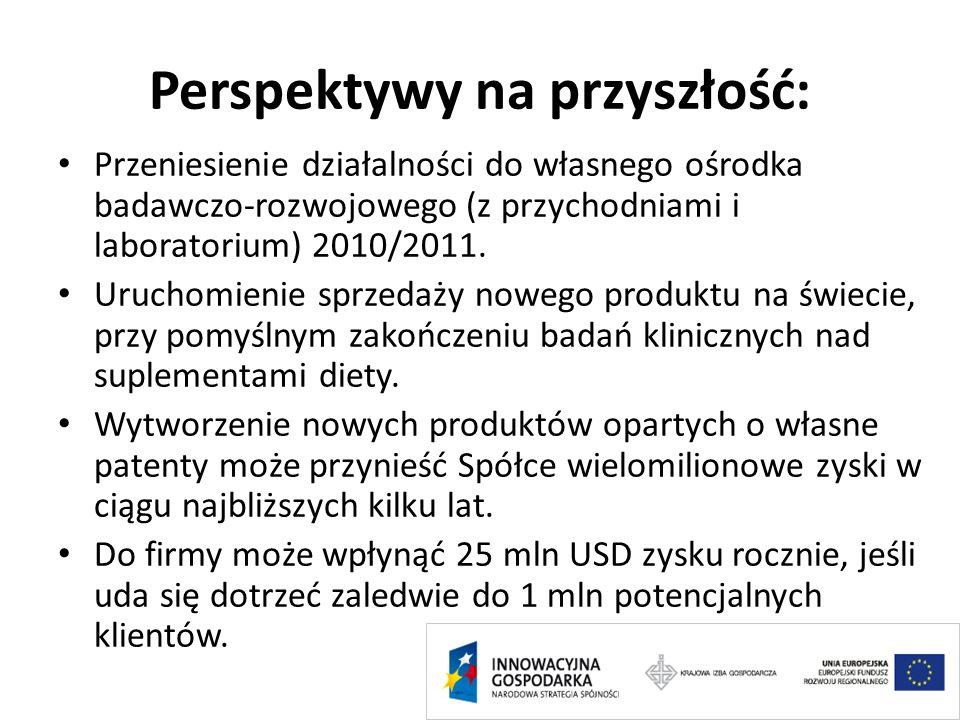 Perspektywy na przyszłość: Przeniesienie działalności do własnego ośrodka badawczo-rozwojowego (z przychodniami i laboratorium) 2010/2011. Uruchomieni