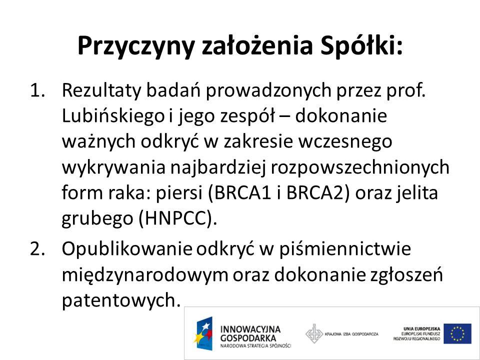 Przyczyny założenia Spółki: 1.Rezultaty badań prowadzonych przez prof. Lubińskiego i jego zespół – dokonanie ważnych odkryć w zakresie wczesnego wykry