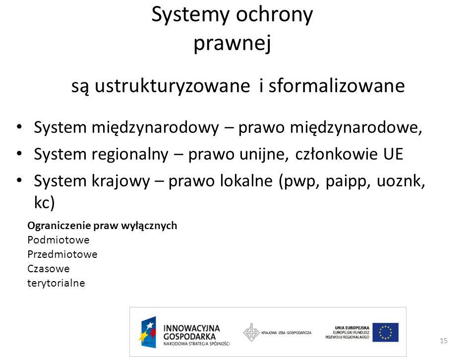 Systemy ochrony prawnej są ustrukturyzowane i sformalizowane System międzynarodowy – prawo międzynarodowe, System regionalny – prawo unijne, członkowi