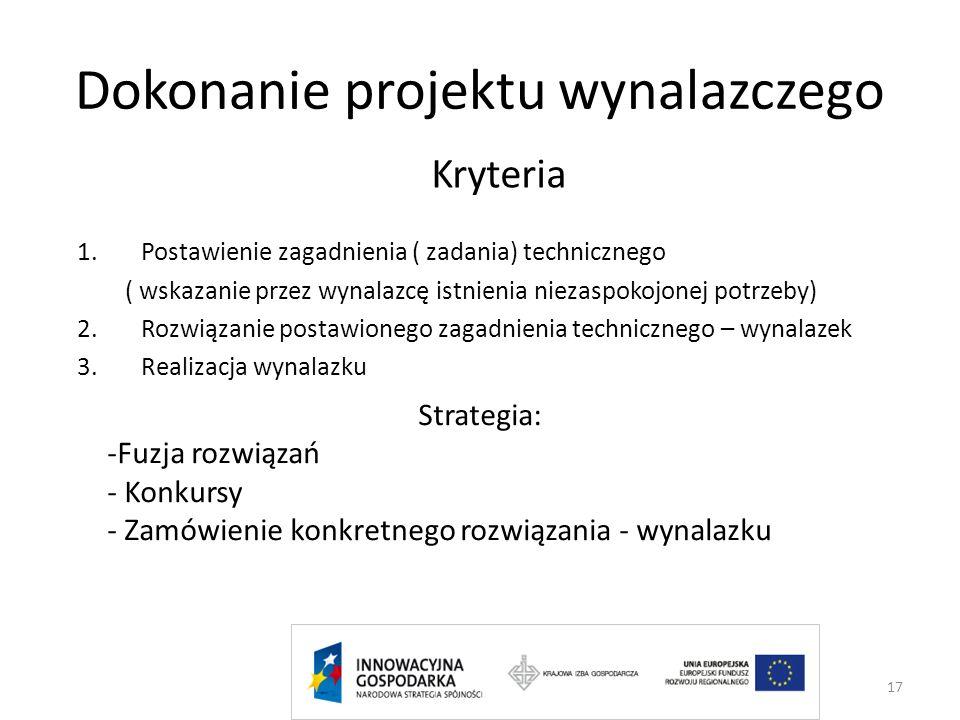 Dokonanie projektu wynalazczego Kryteria 1.Postawienie zagadnienia ( zadania) technicznego ( wskazanie przez wynalazcę istnienia niezaspokojonej potrz