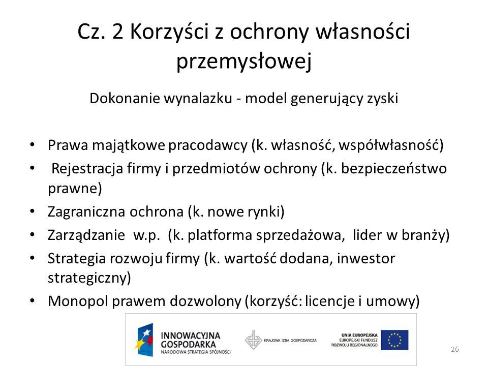 Cz. 2 Korzyści z ochrony własności przemysłowej Dokonanie wynalazku - model generujący zyski Prawa majątkowe pracodawcy (k. własność, współwłasność) R