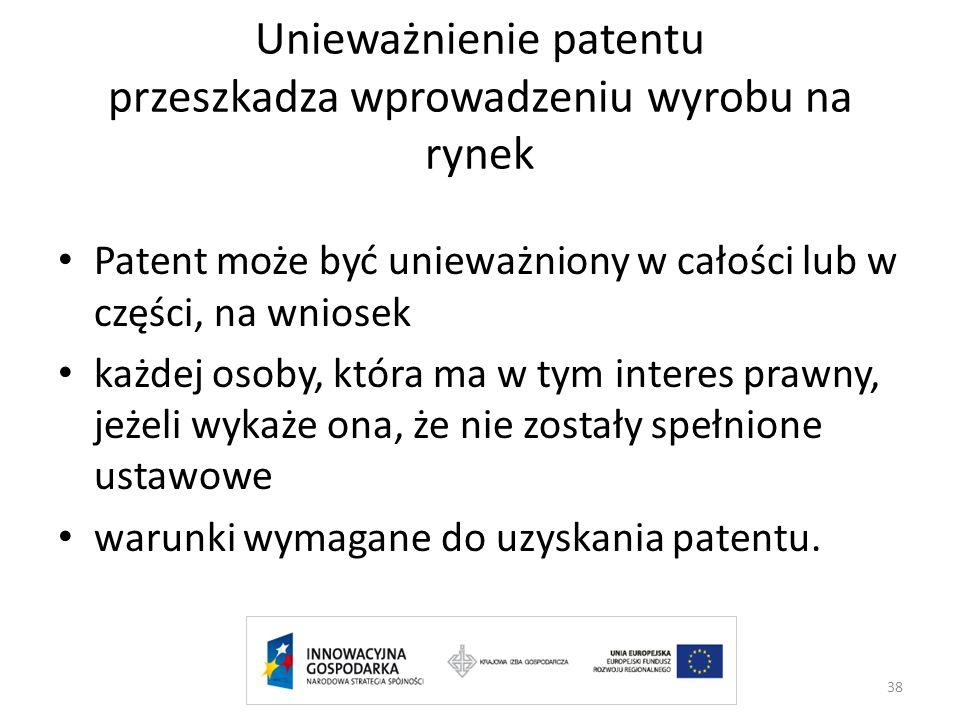 Unieważnienie patentu przeszkadza wprowadzeniu wyrobu na rynek Patent może być unieważniony w całości lub w części, na wniosek każdej osoby, która ma