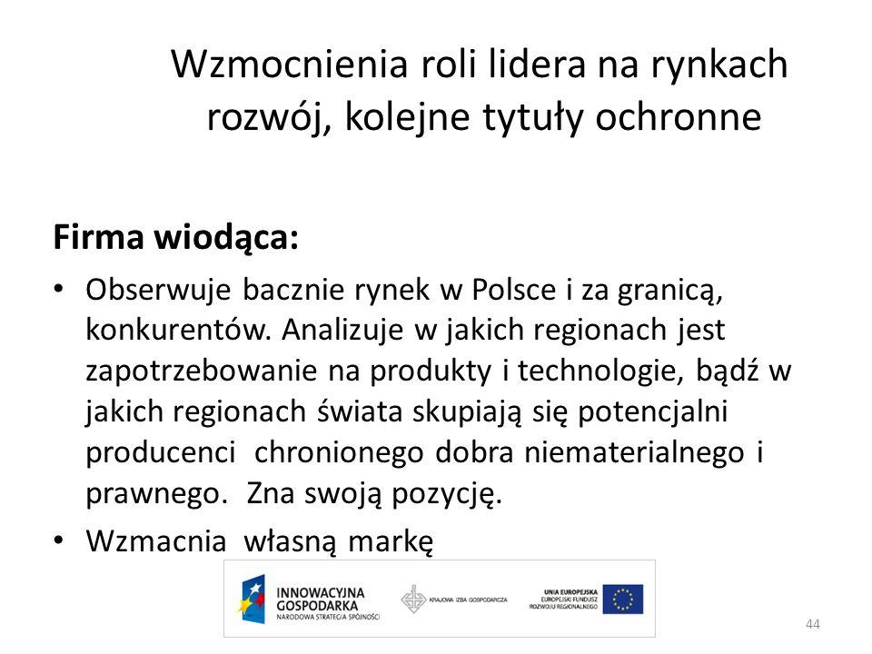 Wzmocnienia roli lidera na rynkach rozwój, kolejne tytuły ochronne Firma wiodąca: Obserwuje bacznie rynek w Polsce i za granicą, konkurentów. Analizuj