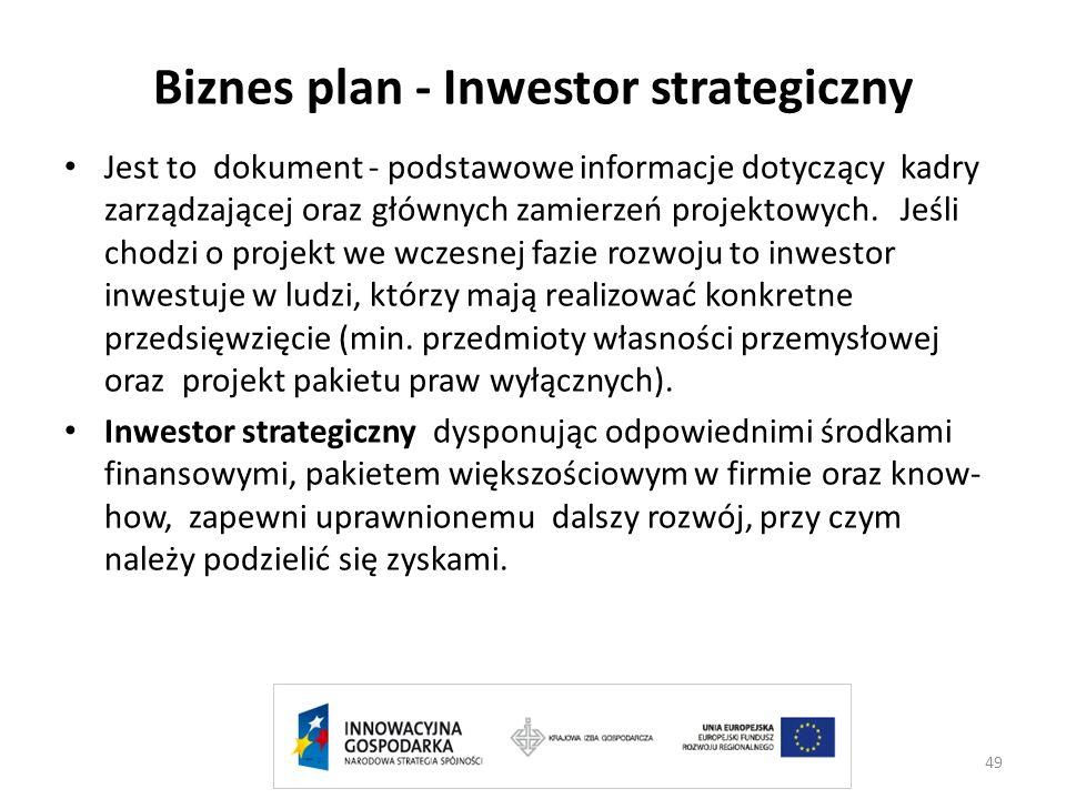 Biznes plan - Inwestor strategiczny Jest to dokument - podstawowe informacje dotyczący kadry zarządzającej oraz głównych zamierzeń projektowych. Jeśli