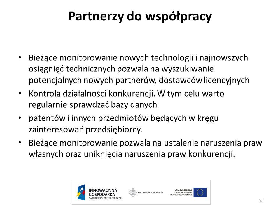 Partnerzy do współpracy Bieżące monitorowanie nowych technologii i najnowszych osiągnięć technicznych pozwala na wyszukiwanie potencjalnych nowych par