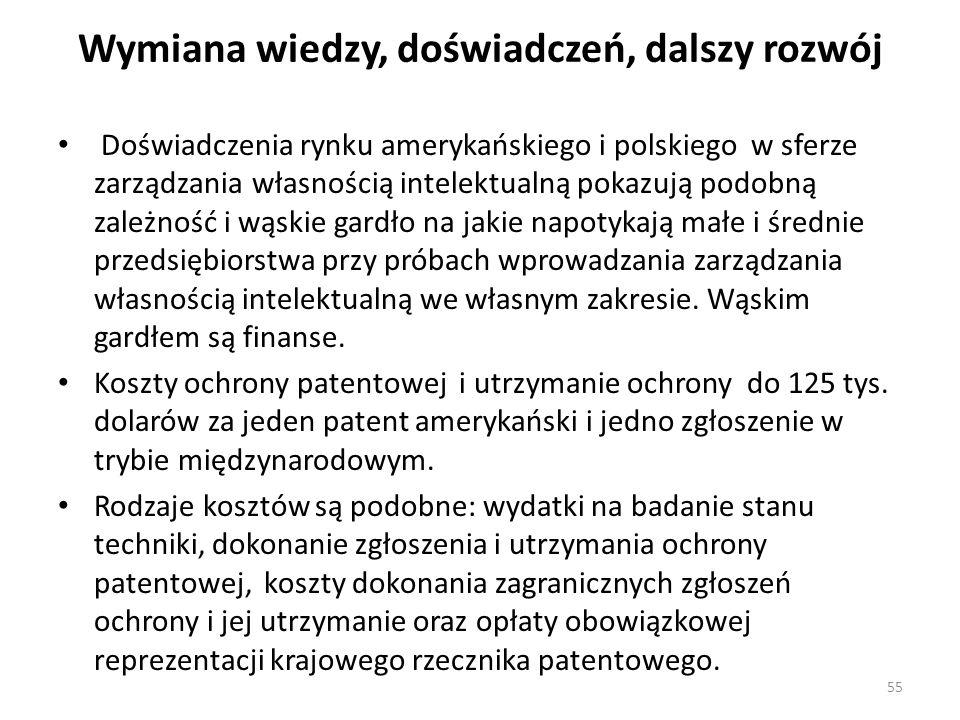 Wymiana wiedzy, doświadczeń, dalszy rozwój Doświadczenia rynku amerykańskiego i polskiego w sferze zarządzania własnością intelektualną pokazują podob