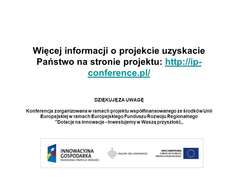 DZIĘKUJĘ ZA UWAGĘ Konferencja zorganizowana w ramach projektu współfinansowanego ze środków Unii Europejskiej w ramach Europejskiego Funduszu Rozwoju Regionalnego Dotacje na innowacje - Inwestujemy w Waszą przyszłość Więcej informacji o projekcie uzyskacie Państwo na stronie projektu: http://ip- conference.pl/http://ip- conference.pl/