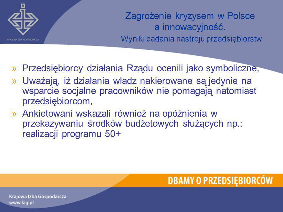 »Przedsiębiorcy działania Rządu ocenili jako symboliczne, »Uważają, iż działania władz nakierowane są jedynie na wsparcie socjalne pracowników nie pomagają natomiast przedsiębiorcom, »Ankietowani wskazali również na opóźnienia w przekazywaniu środków budżetowych służących np.: realizacji programu 50+ Zagrożenie kryzysem w Polsce a innowacyjność.