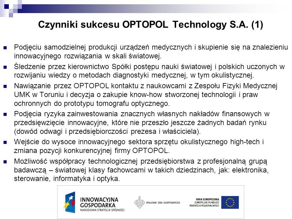 Czynniki sukcesu OPTOPOL Technology S.A. (1) Podjęciu samodzielnej produkcji urządzeń medycznych i skupienie się na znalezieniu innowacyjnego rozwiąza