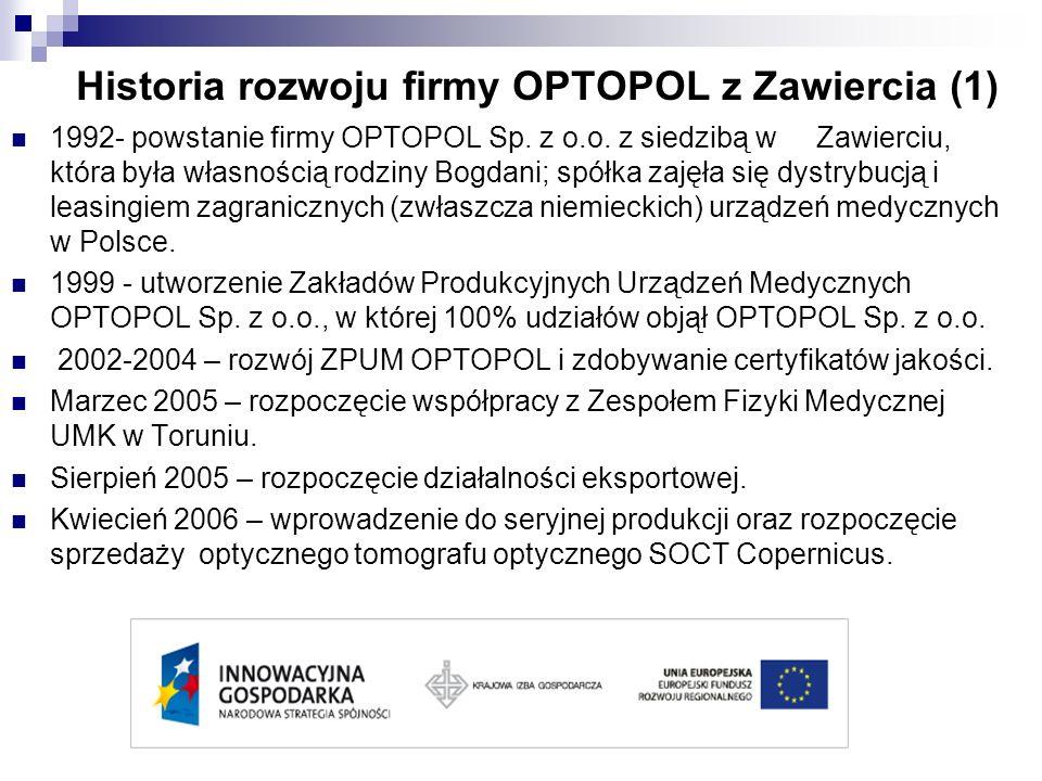 Historia rozwoju firmy OPTOPOL z Zawiercia (1) 1992- powstanie firmy OPTOPOL Sp. z o.o. z siedzibą w Zawierciu, która była własnością rodziny Bogdani;