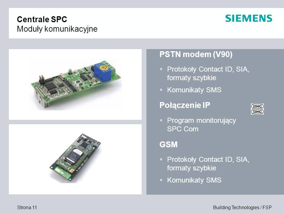 Strona 11 Building Technologies / FSP Centrale SPC Moduły komunikacyjne PSTN modem (V90) Protokoły Contact ID, SIA, formaty szybkie Komunikaty SMS Poł