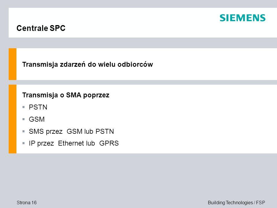 Strona 16 Building Technologies / FSP Centrale SPC Transmisja zdarzeń do wielu odbiorców Transmisja o SMA poprzez PSTN GSM SMS przez GSM lub PSTN IP p