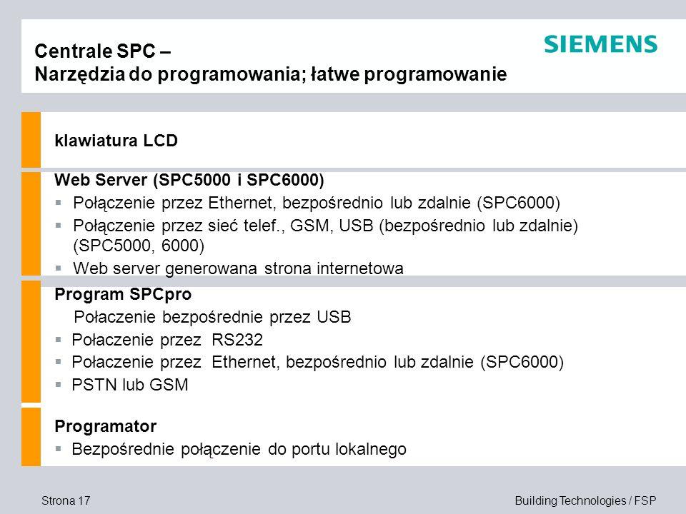 Strona 17 Building Technologies / FSP Centrale SPC – Narzędzia do programowania; łatwe programowanie klawiatura LCD Web Server (SPC5000 i SPC6000) Poł