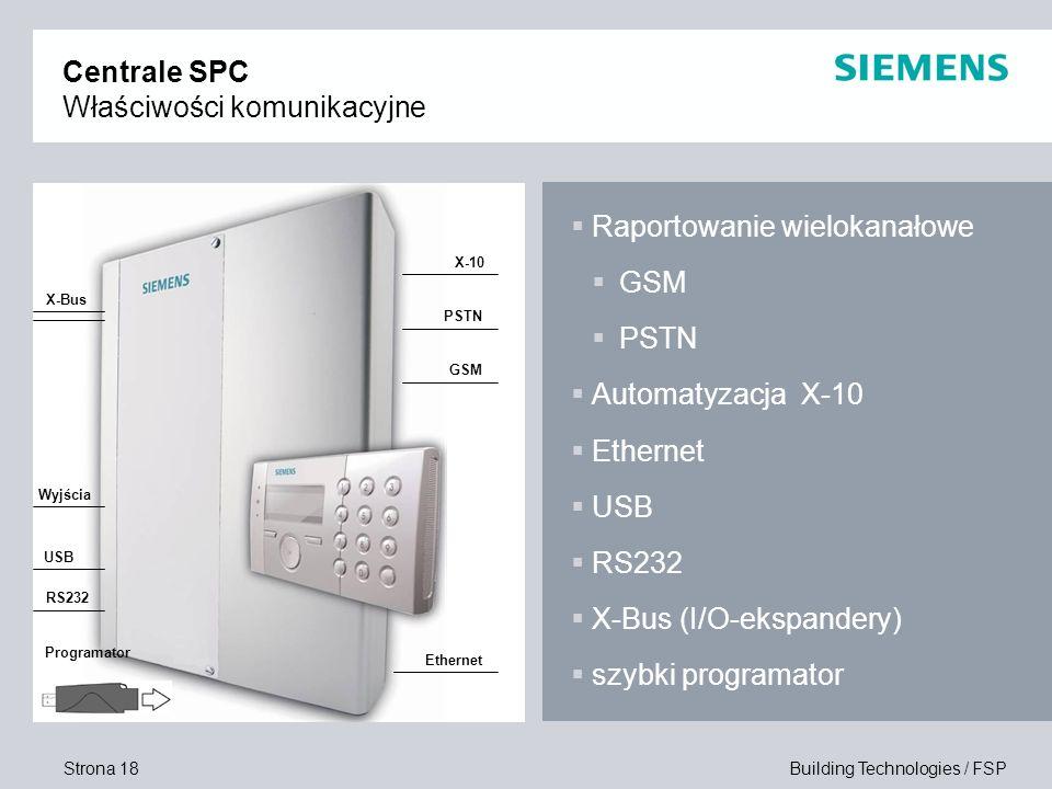 Strona 18 Building Technologies / FSP Centrale SPC Właściwości komunikacyjne Raportowanie wielokanałowe GSM PSTN Automatyzacja X-10 Ethernet USB RS232