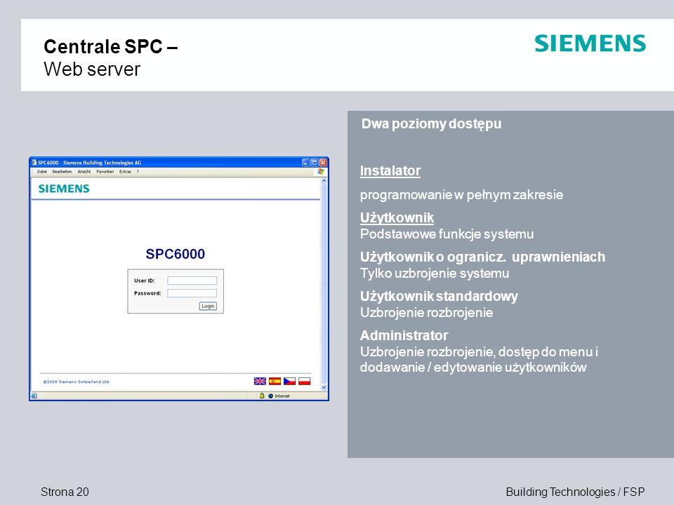 Strona 20 Building Technologies / FSP Instalator programowanie w pełnym zakresie Użytkownik Podstawowe funkcje systemu Użytkownik o ogranicz. uprawnie