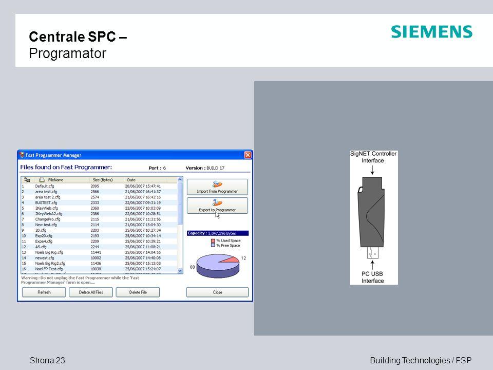 Strona 23 Building Technologies / FSP Centrale SPC – Programator