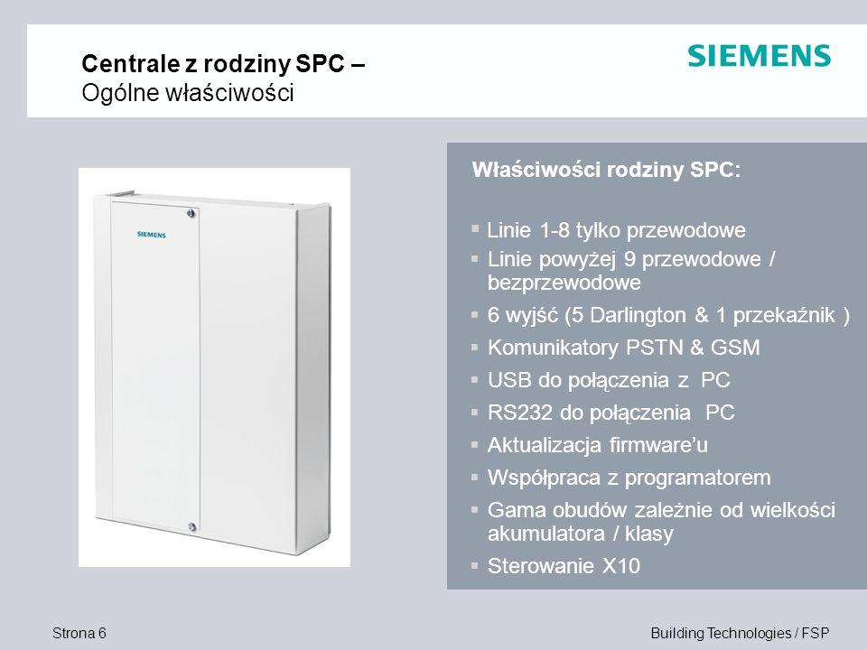 Strona 6 Building Technologies / FSP Centrale z rodziny SPC – Ogólne właściwości Linie 1-8 tylko przewodowe Linie powyżej 9 przewodowe / bezprzewodowe