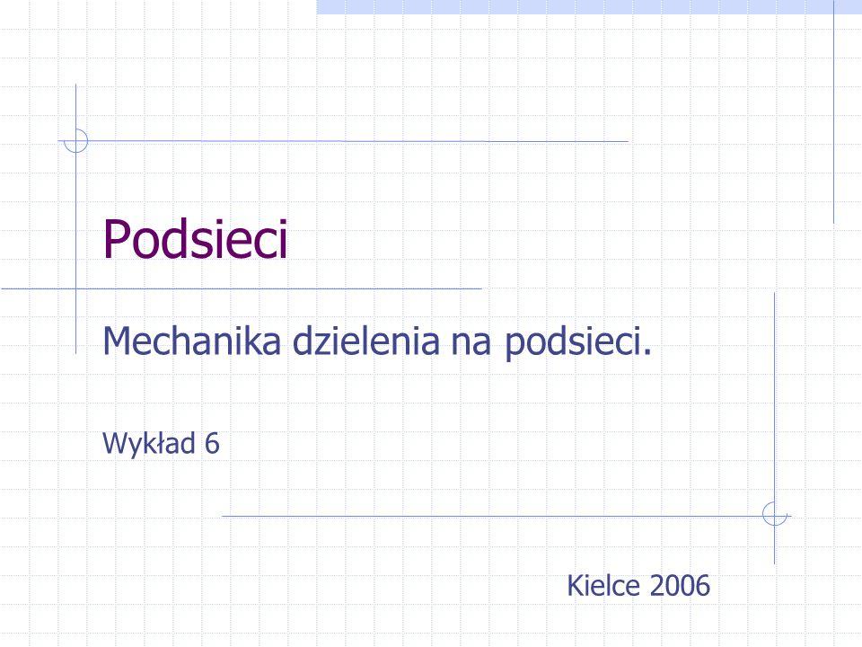 Podsieci Mechanika dzielenia na podsieci. Wykład 6 Kielce 2006