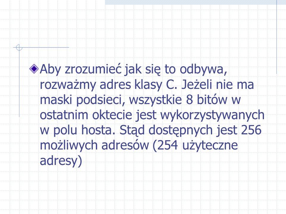Aby zrozumieć jak się to odbywa, rozważmy adres klasy C. Jeżeli nie ma maski podsieci, wszystkie 8 bitów w ostatnim oktecie jest wykorzystywanych w po