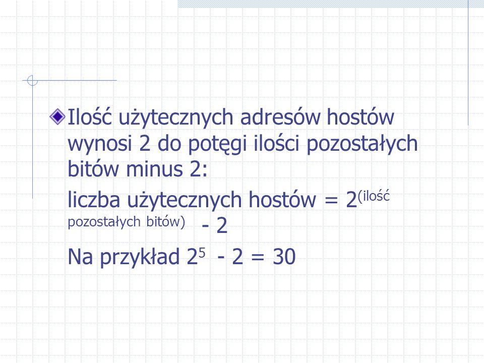Ilość użytecznych adresów hostów wynosi 2 do potęgi ilości pozostałych bitów minus 2: liczba użytecznych hostów = 2 (ilość pozostałych bitów) - 2 Na p