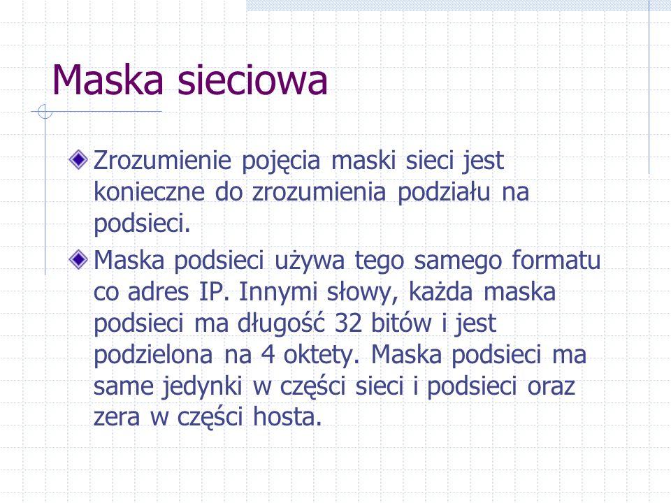 Maska sieciowa Zrozumienie pojęcia maski sieci jest konieczne do zrozumienia podziału na podsieci. Maska podsieci używa tego samego formatu co adres I