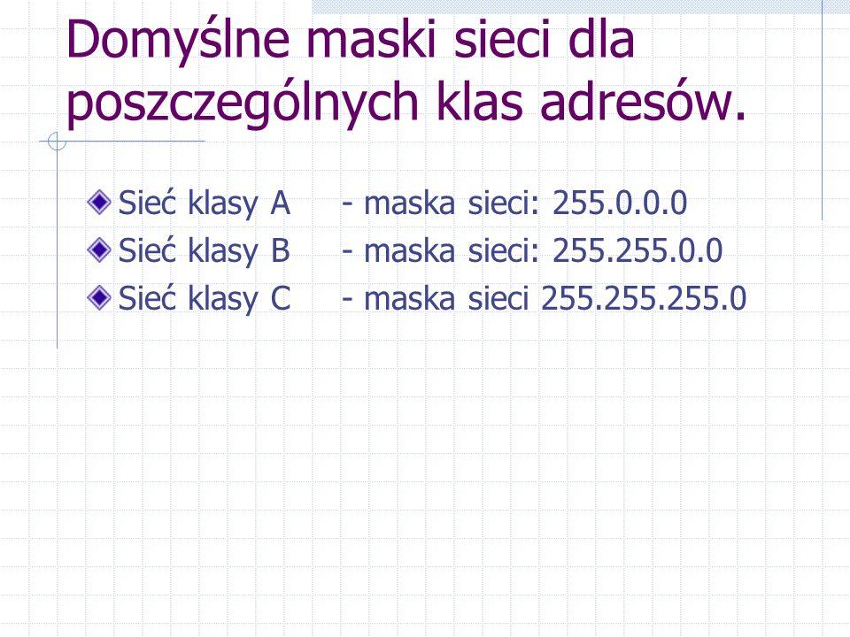 Domyślne maski sieci dla poszczególnych klas adresów. Sieć klasy A - maska sieci: 255.0.0.0 Sieć klasy B - maska sieci: 255.255.0.0 Sieć klasy C - mas
