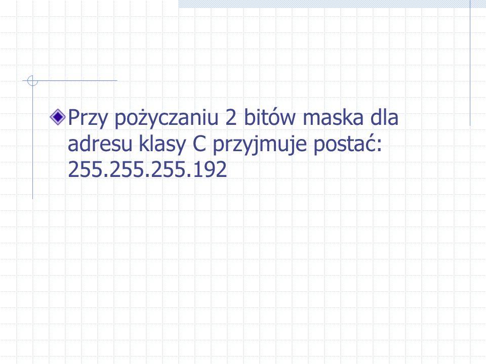 Przy pożyczaniu 2 bitów maska dla adresu klasy C przyjmuje postać: 255.255.255.192
