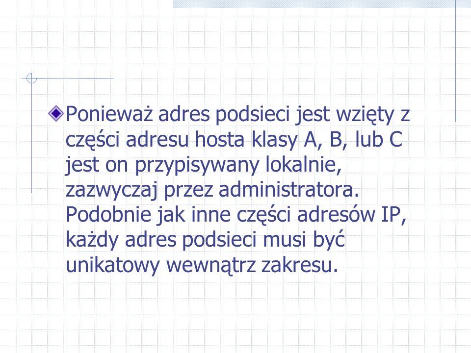 Ponieważ adres podsieci jest wzięty z części adresu hosta klasy A, B, lub C jest on przypisywany lokalnie, zazwyczaj przez administratora. Podobnie ja