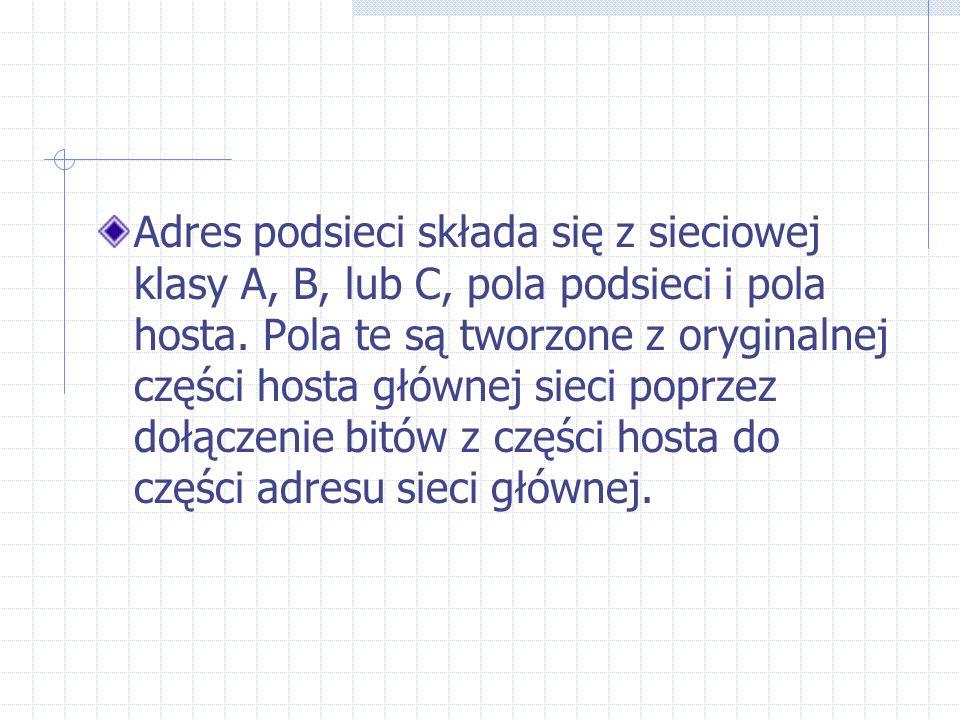 Adres podsieci składa się z sieciowej klasy A, B, lub C, pola podsieci i pola hosta. Pola te są tworzone z oryginalnej części hosta głównej sieci popr