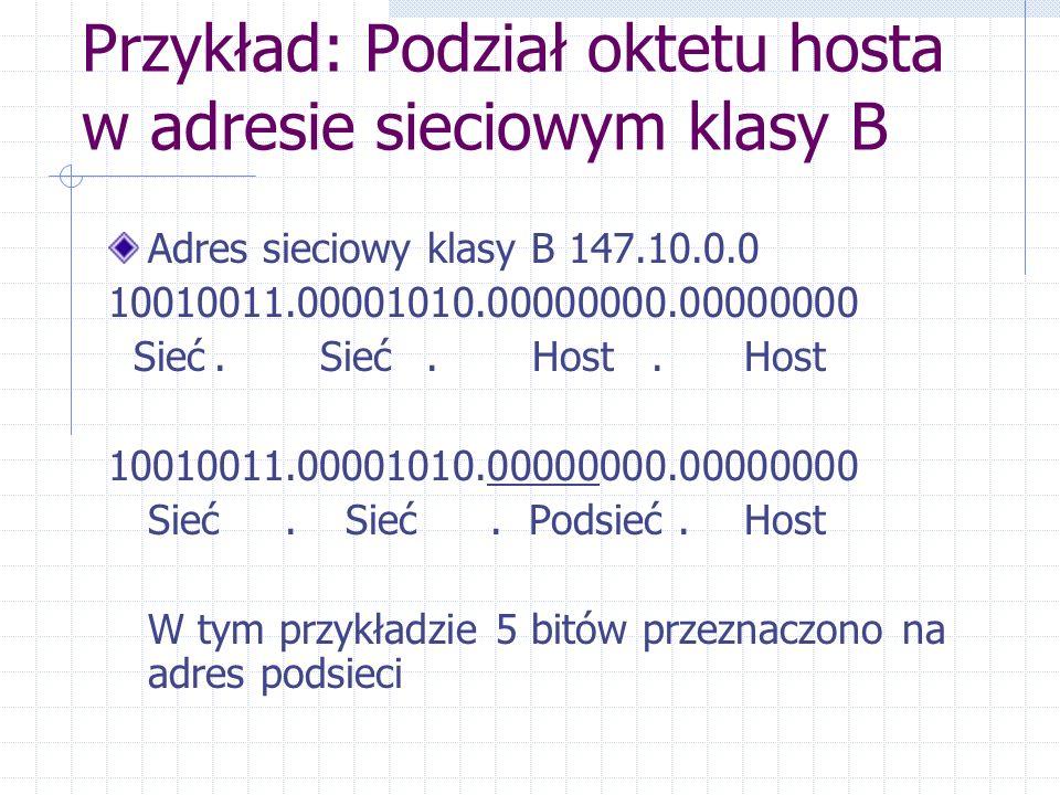 Przykład: Podział oktetu hosta w adresie sieciowym klasy B Adres sieciowy klasy B 147.10.0.0 10010011.00001010.00000000.00000000 Sieć.Sieć.Host.Host 1