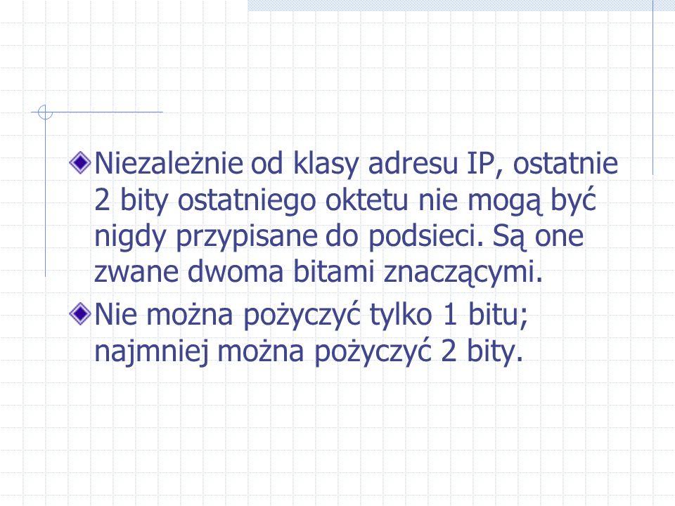 Niezależnie od klasy adresu IP, ostatnie 2 bity ostatniego oktetu nie mogą być nigdy przypisane do podsieci. Są one zwane dwoma bitami znaczącymi. Nie