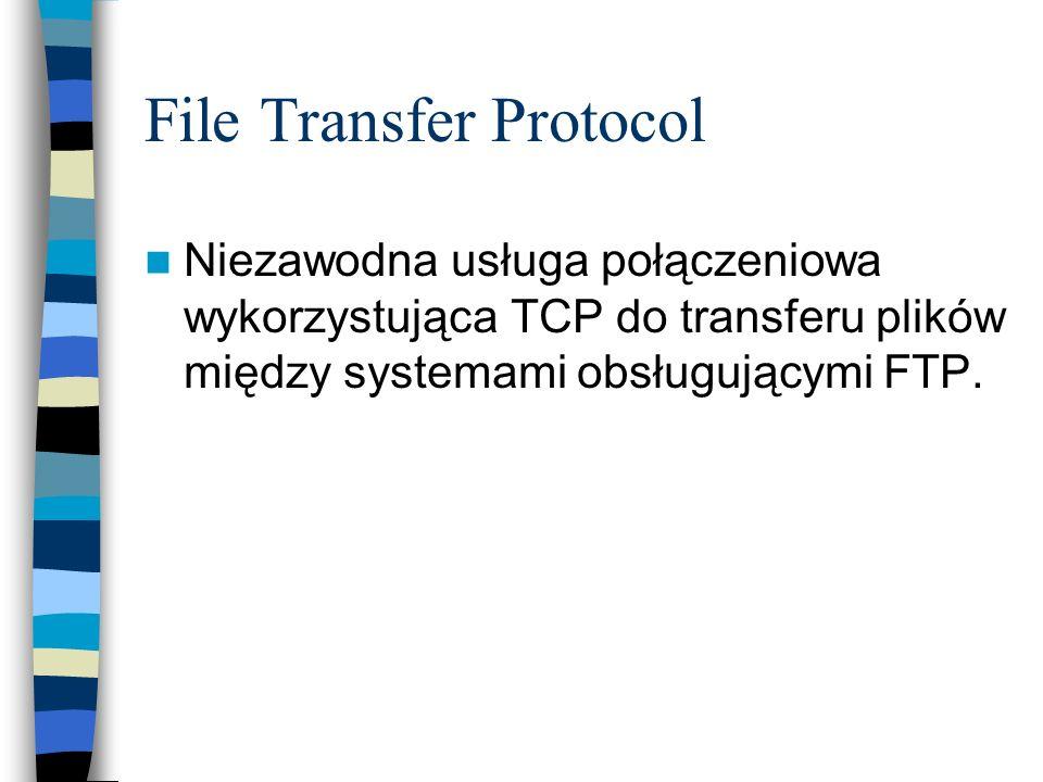 File Transfer Protocol Niezawodna usługa połączeniowa wykorzystująca TCP do transferu plików między systemami obsługującymi FTP.
