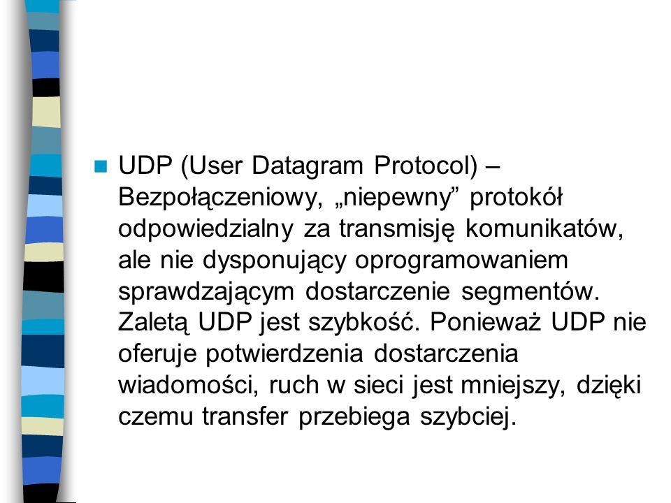 UDP (User Datagram Protocol) – Bezpołączeniowy, niepewny protokół odpowiedzialny za transmisję komunikatów, ale nie dysponujący oprogramowaniem sprawd