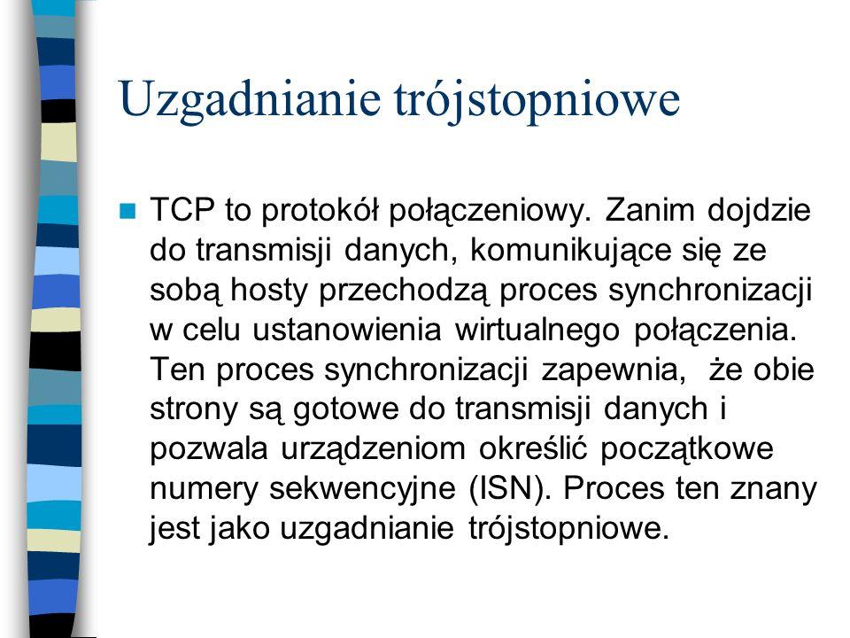 Uzgadnianie trójstopniowe TCP to protokół połączeniowy. Zanim dojdzie do transmisji danych, komunikujące się ze sobą hosty przechodzą proces synchroni