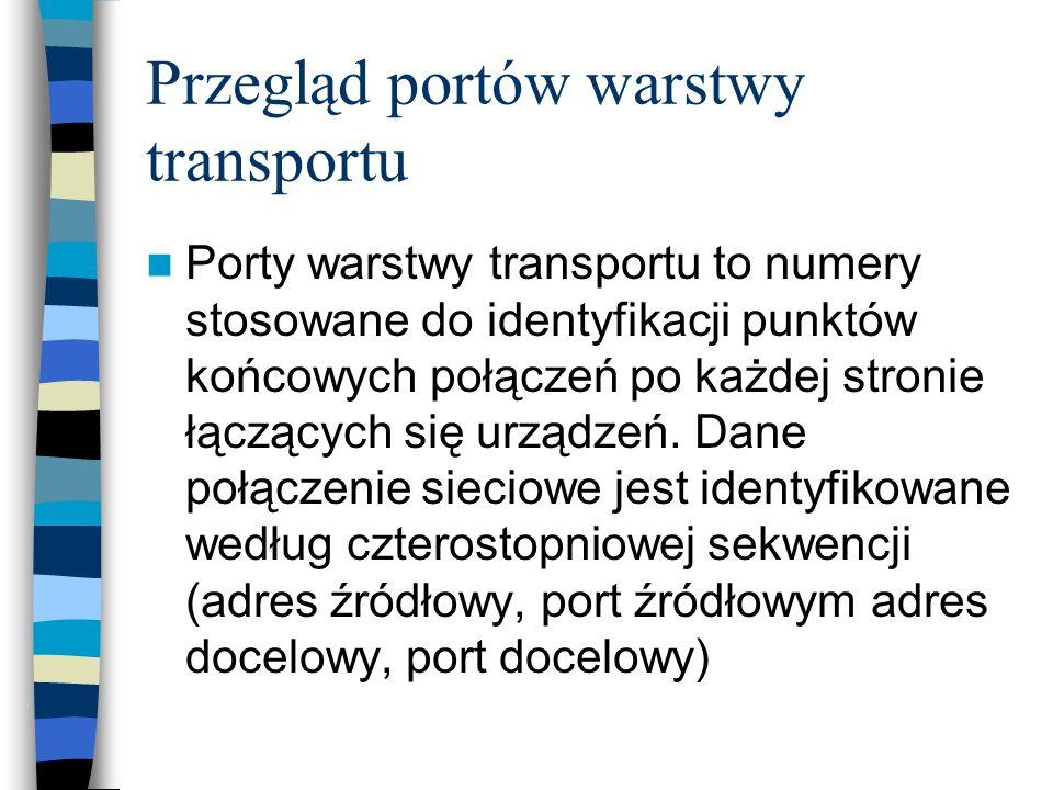 Przegląd portów warstwy transportu Porty warstwy transportu to numery stosowane do identyfikacji punktów końcowych połączeń po każdej stronie łączącyc