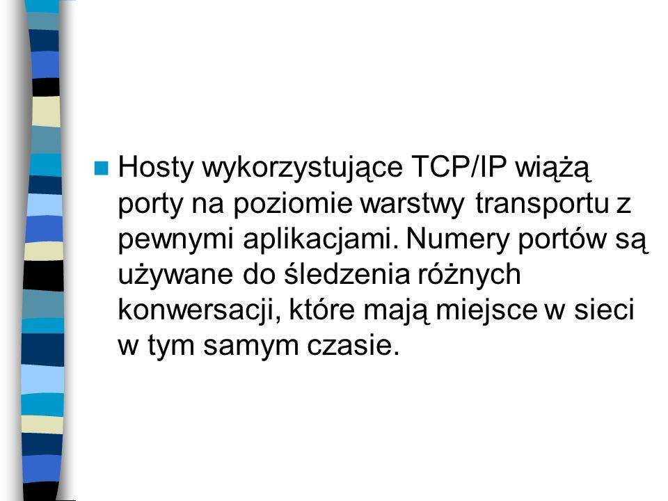 Hosty wykorzystujące TCP/IP wiążą porty na poziomie warstwy transportu z pewnymi aplikacjami. Numery portów są używane do śledzenia różnych konwersacj